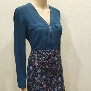 Express Teal Two Pocket Front Zip Chelsea Shirt S